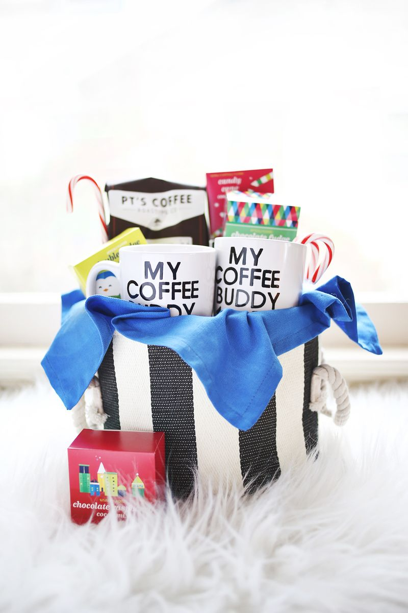 His + Hers Coffee Gift Basket abeautifulmess.com
