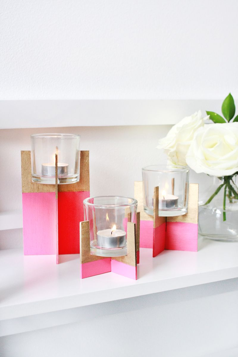 Paint Dipped Balsa Wood Candle Holder A Beautiful Mess