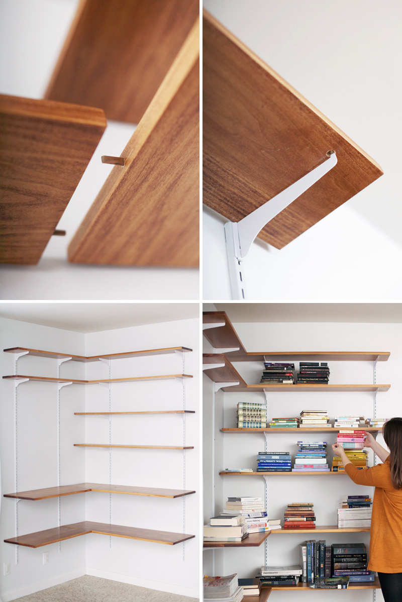Build organize a corner shelving system a beautiful mess for Craft wall storage system