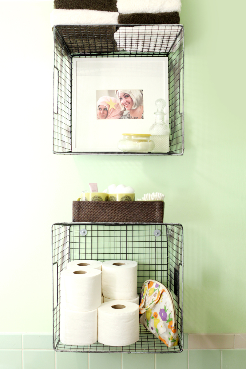 Wall Hanging Wire Baskets try this: hanging baskets for bathroom storage – a beautiful mess