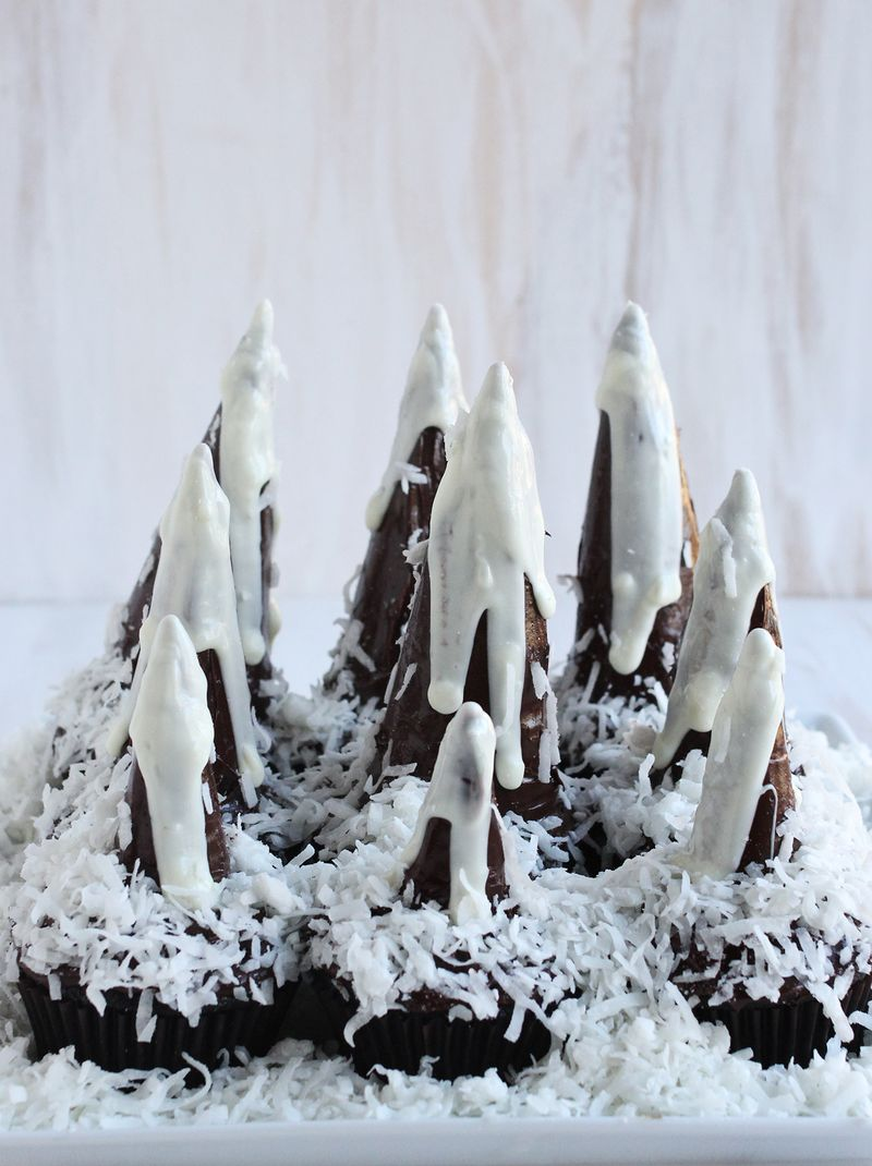 Double chocolate mountain cupcakes