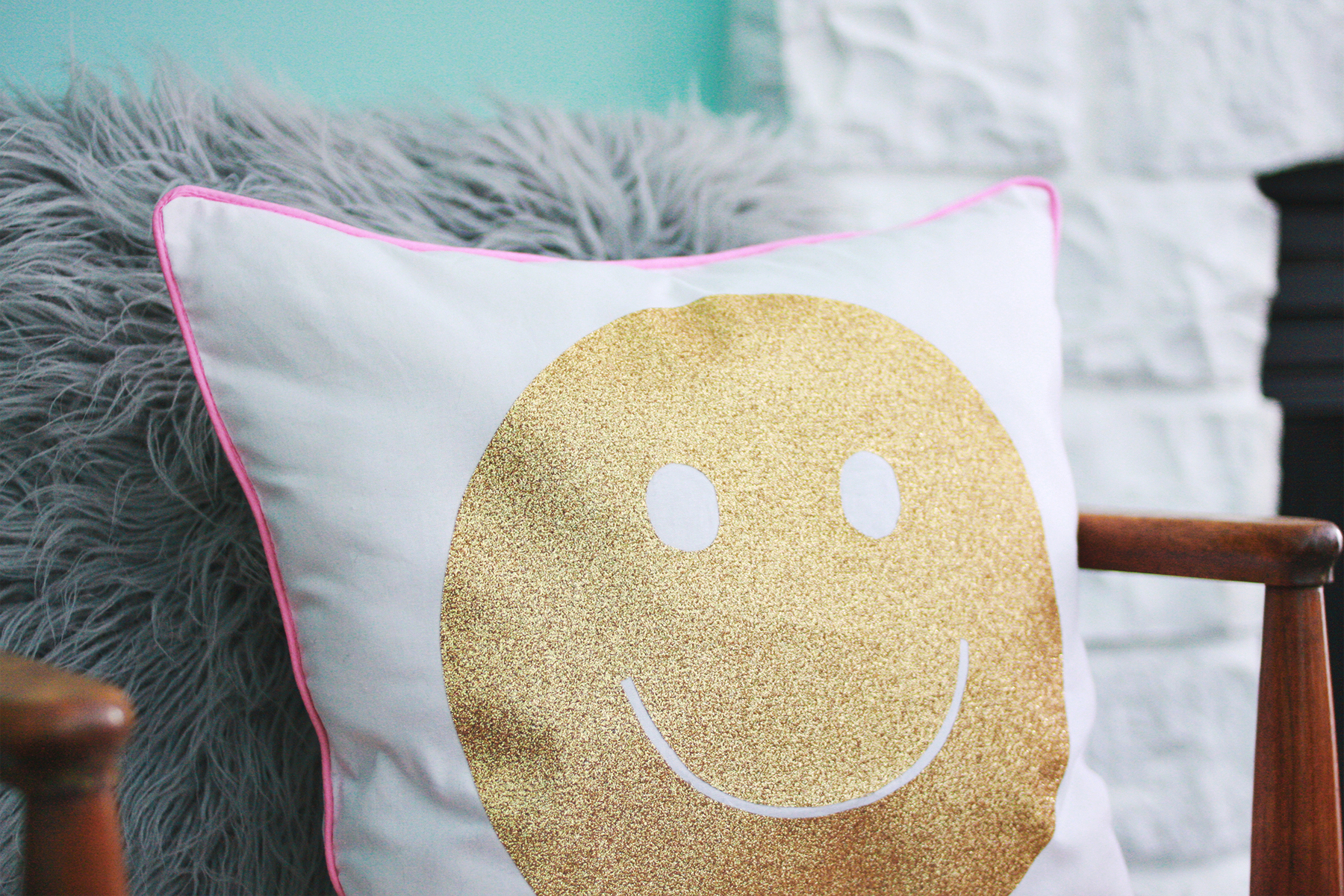 Iron On Glitter Transfer Pillow abeautifulmess.com