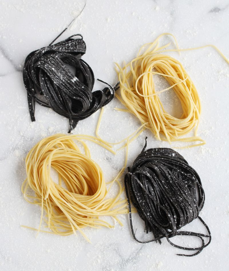Homemade squid ink pasta