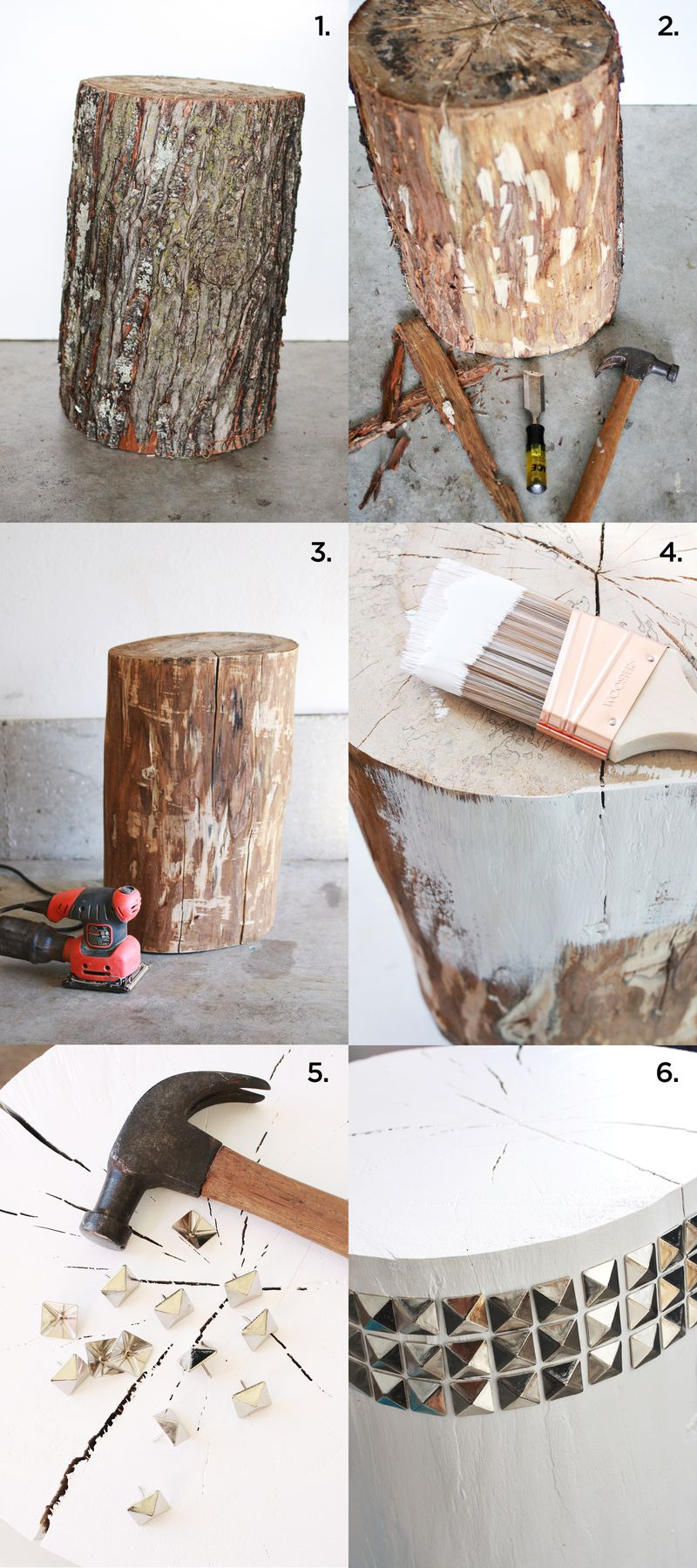 Diy studded tree stump side table a beautiful mess for Diy wood stump side table
