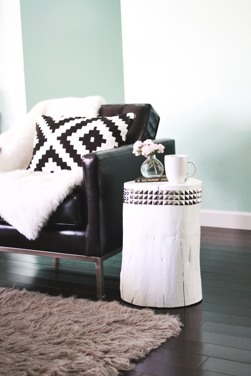 DIY Studded Tree Stump Side Table A Beautiful Mess - White stump side table