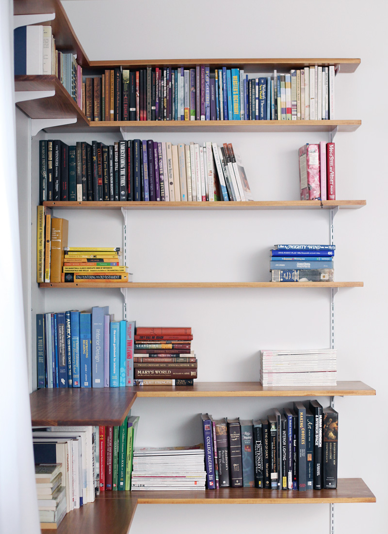 Build organize a corner shelving system a beautiful mess for Easy way to make shelves
