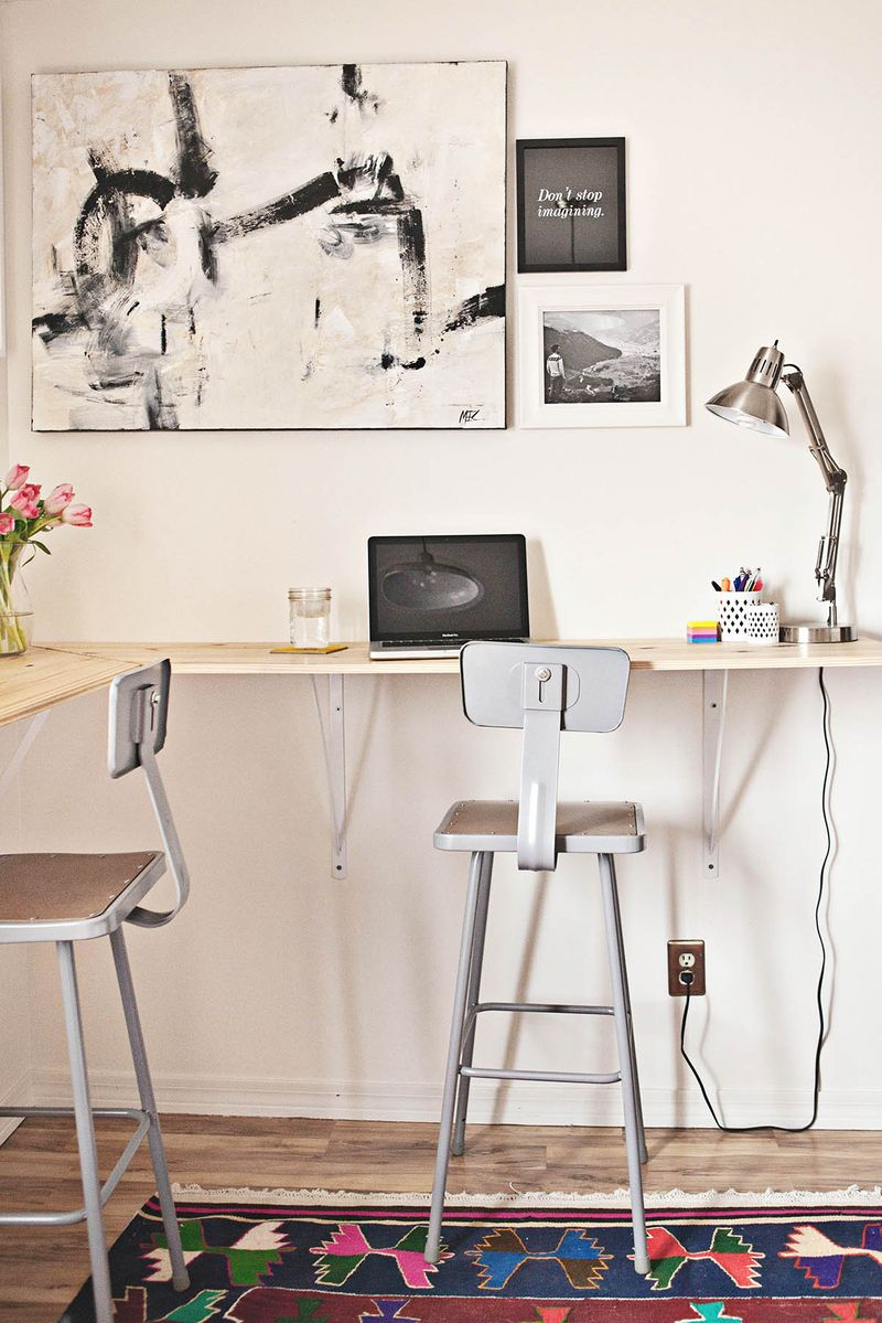 Building a standing desk a beautiful mess for Wrap around desk plans