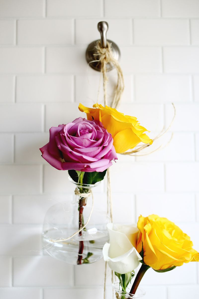 Hanging Vase Display DIY abeautifulmess.com