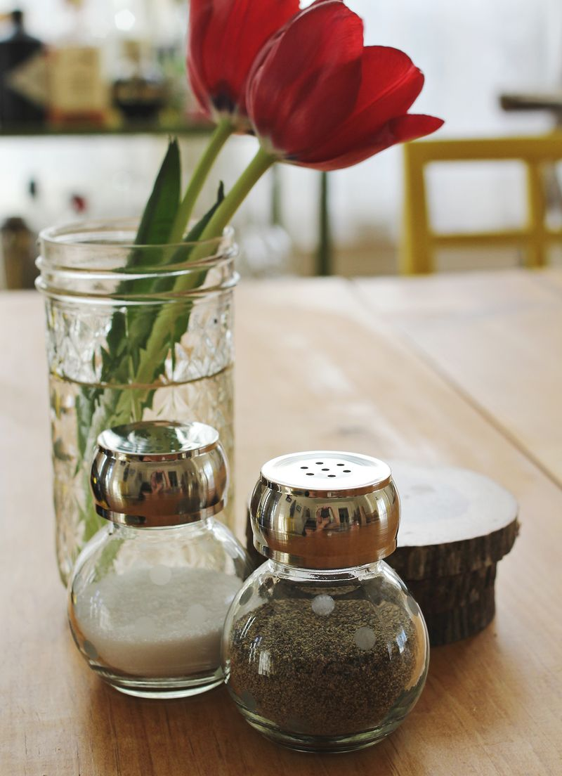Glass etched salt and pepper shakers