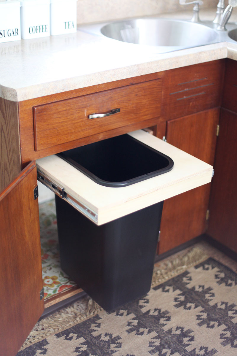 Convert a Cabinet into a Pull-Out Trash Bin - A Beautiful Mess on trash cans for walls, trash cans for glass, trash cans for chairs, trash cans for custom cabinets, trash cans for home, trash cans for restaurants, trash cans for drawers, trash cans for storage,