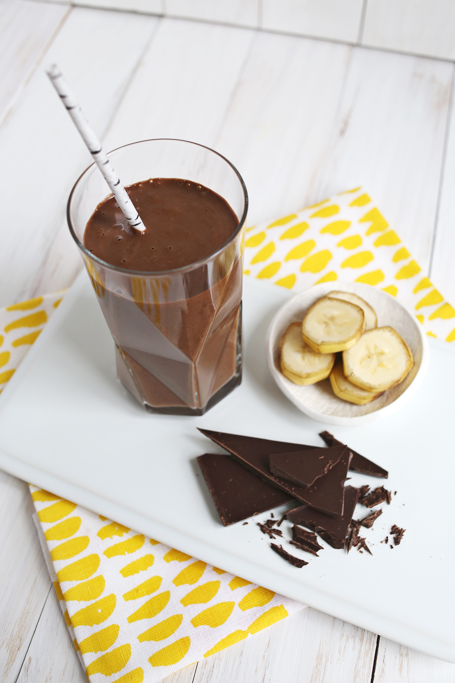 Healthy Chocolate Banana Shake (Dairy-Free & No Added Sugar!) abeautifulmess.com