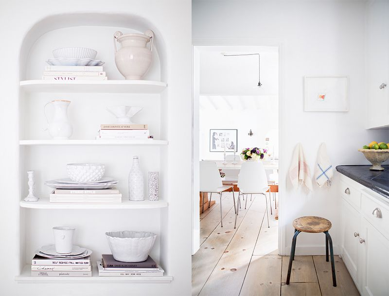 LOVE the white dishes and walls in this space