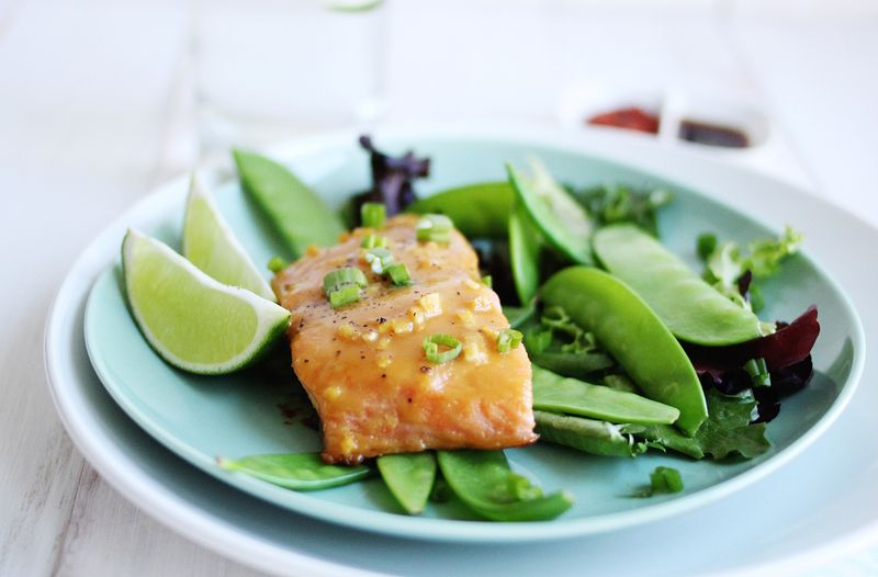 Miso and honey glazed salmon