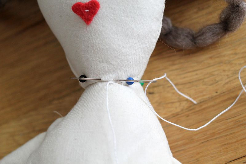 Step 8- stitch the head to the body with an invisible stitch