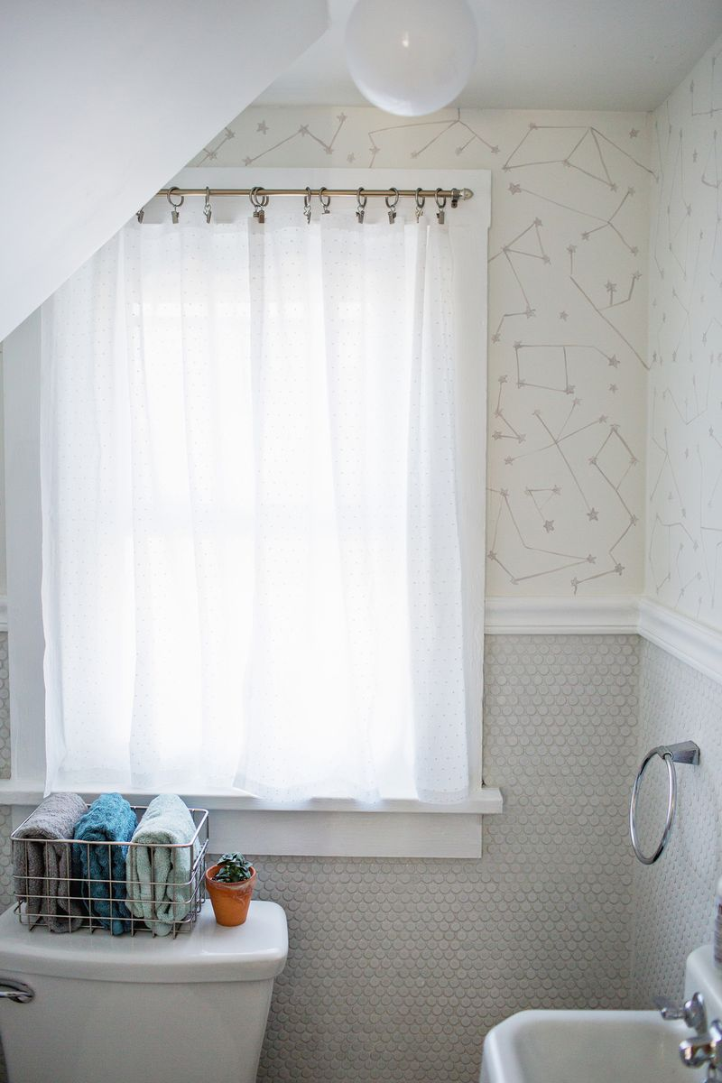 Diy bathroom curtain ideas - Easy No Sew Curtains Abeautifulmess Com