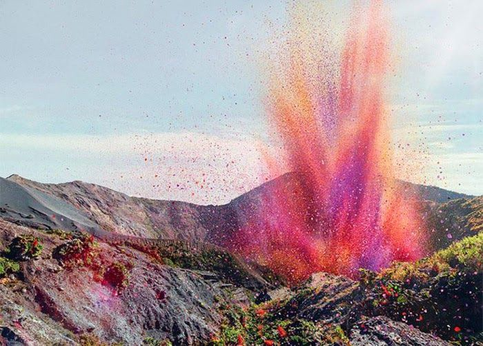 Incredible flower petal volcano!