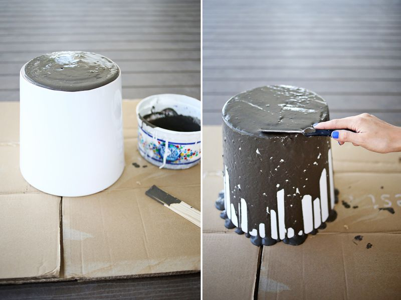 Dripped Concrete Planter DIY abeautifulmess.com