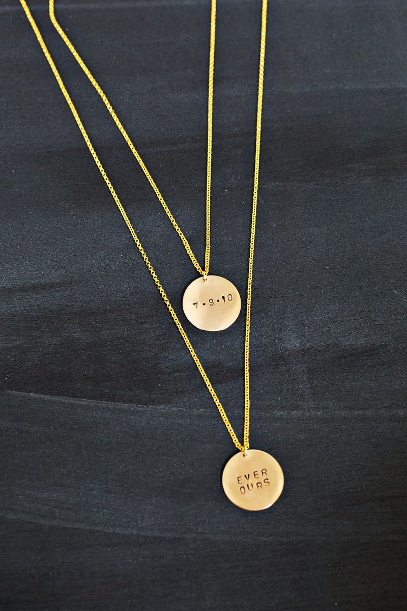 Make your own hand stamped necklace a beautiful mess for How do you make hand stamped jewelry