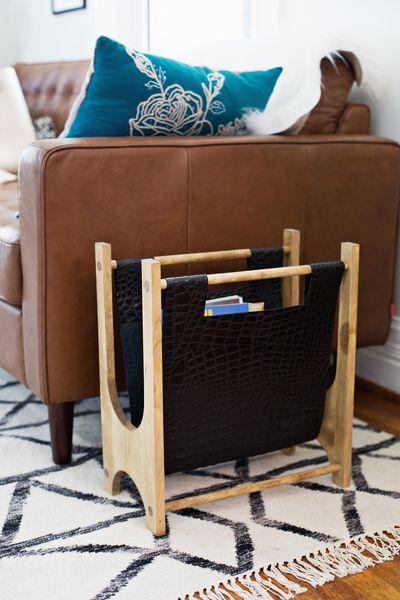 Wood + Leather Magazine Holder DIY