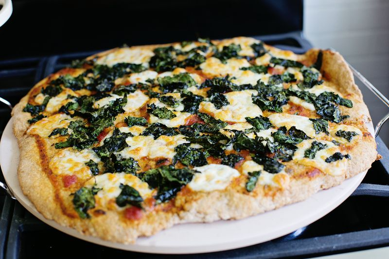 Crispy kale pizza (click through for recipe)
