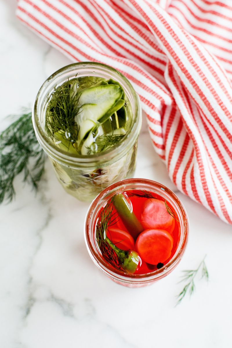 Sweet Amp Spicy Refrigerator Pickles A Beautiful Mess