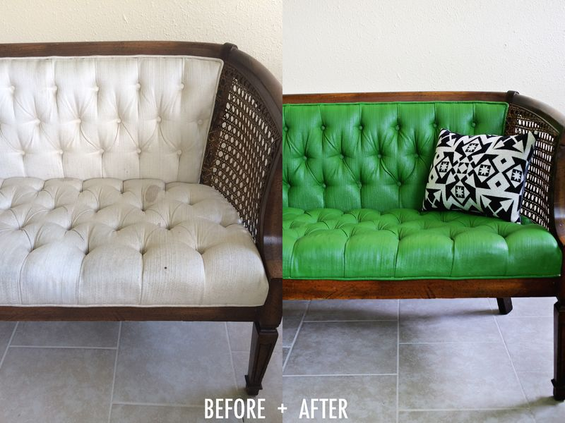 adventures in painting upholstery a beautiful mess. Black Bedroom Furniture Sets. Home Design Ideas