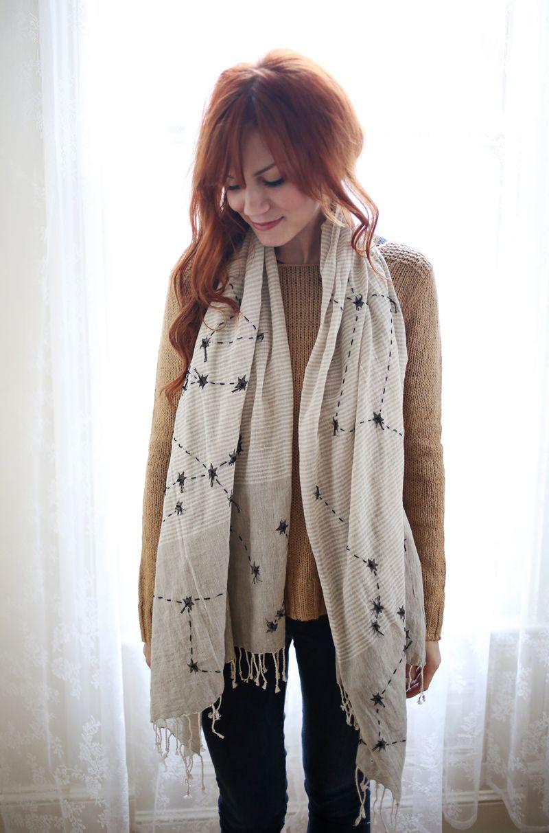 DIY constellations scarf