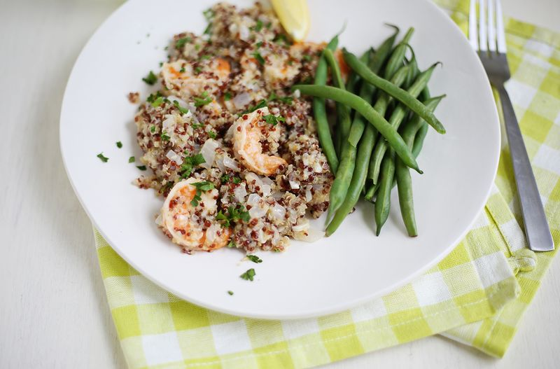 Quinoa Shrimp Scampi (click through for recipe)