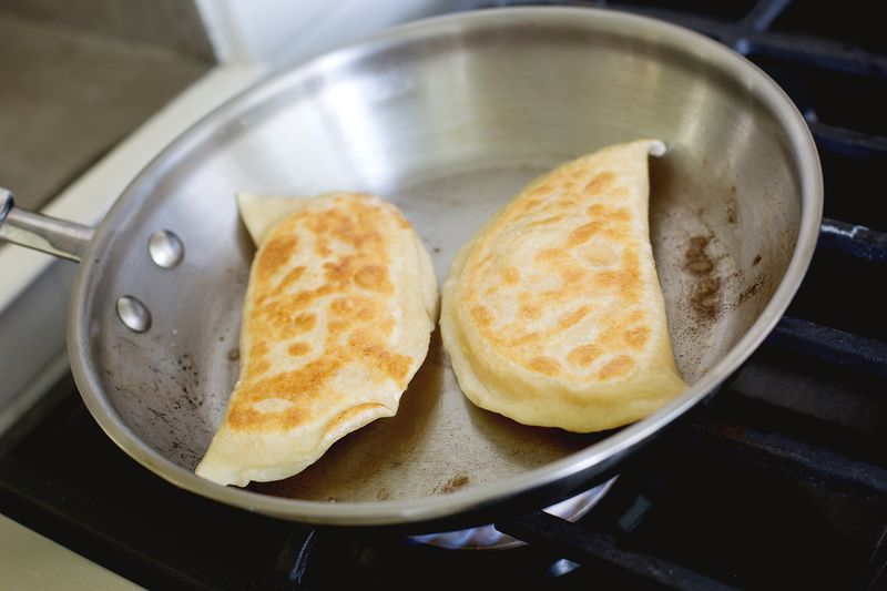 Bacon Cheddar Pierogies—so good! (click through for recipe)