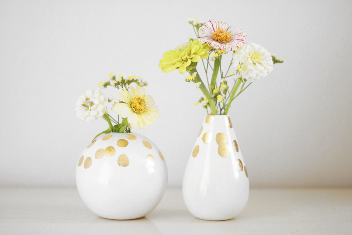 Gorgeous white and gold vases