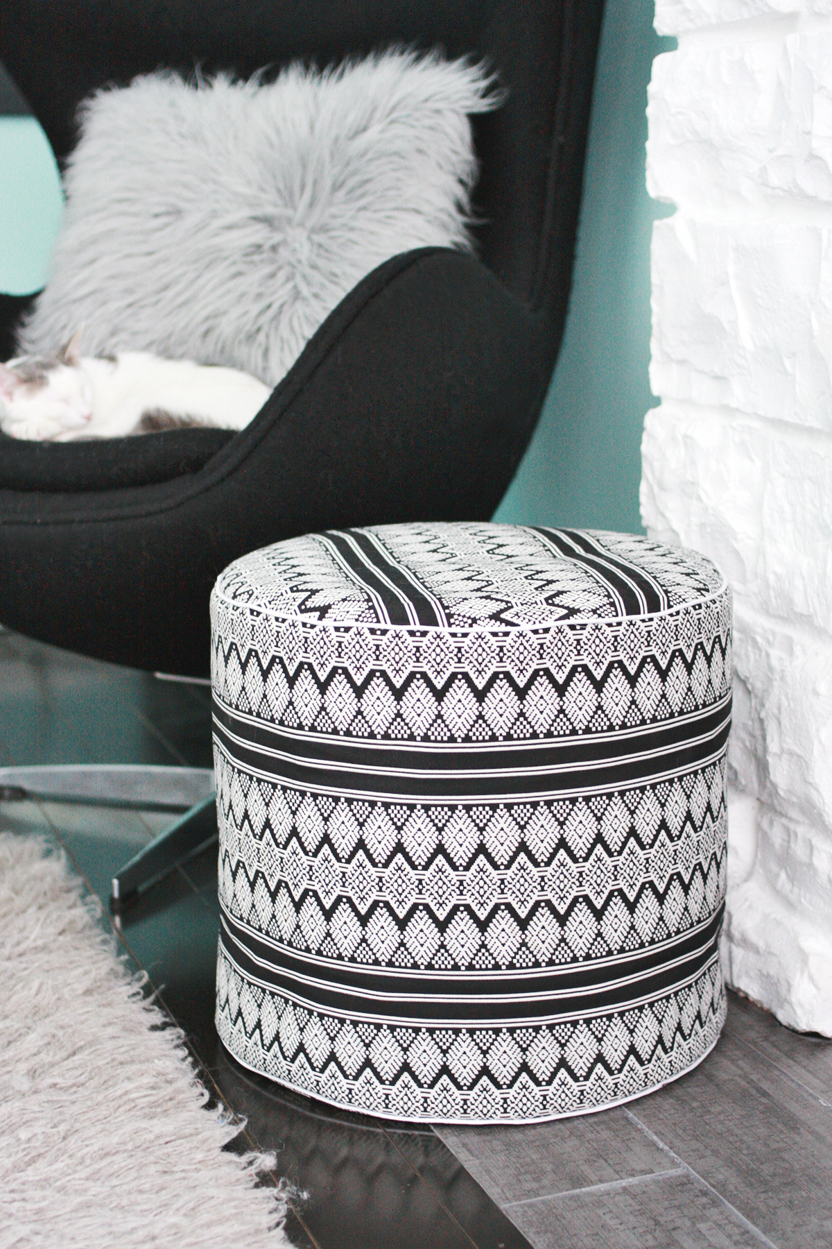 Drum Floor Pouf Diy A Beautiful Mess