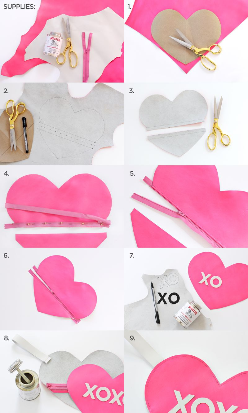 XOXO Heart Clutch DIY abeautifulmess.com
