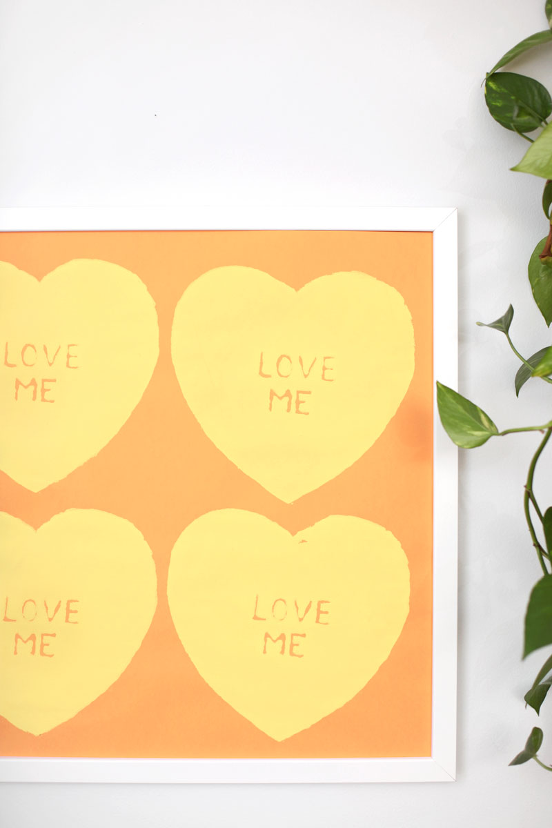 Learn how to screen print your own Andy Warhol inspired heart print by using common craft supplies.