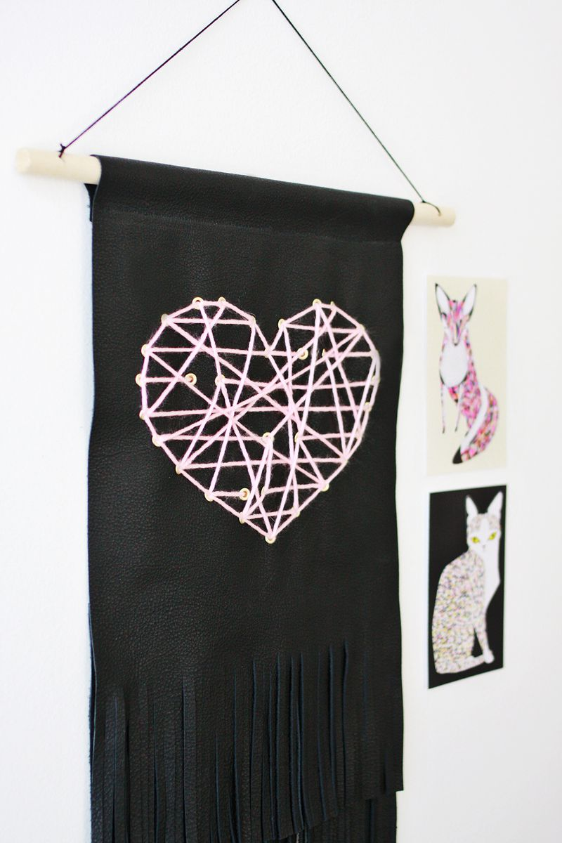 Leather Fringe Heart Tapestry abeautifulmess.com