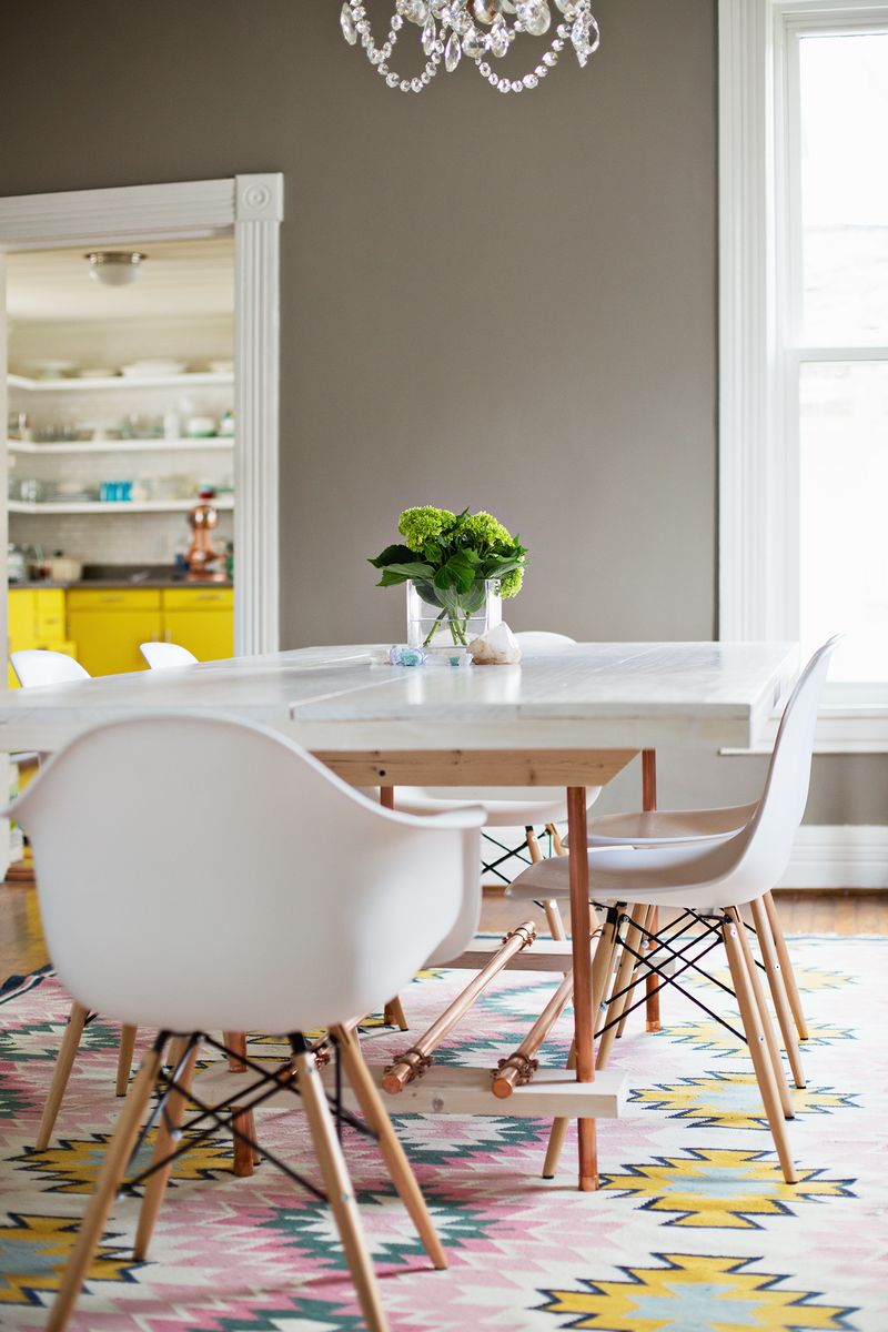 diy dining room table with copper legs a beautiful mess. Black Bedroom Furniture Sets. Home Design Ideas
