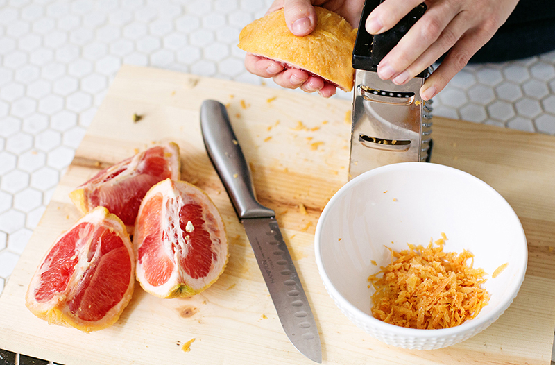 Use a grater to zest a fruit rind to add to homemade soaps