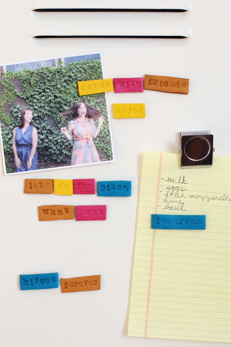 Add some fun flair to your refrigerator door with these handmade word magnets.