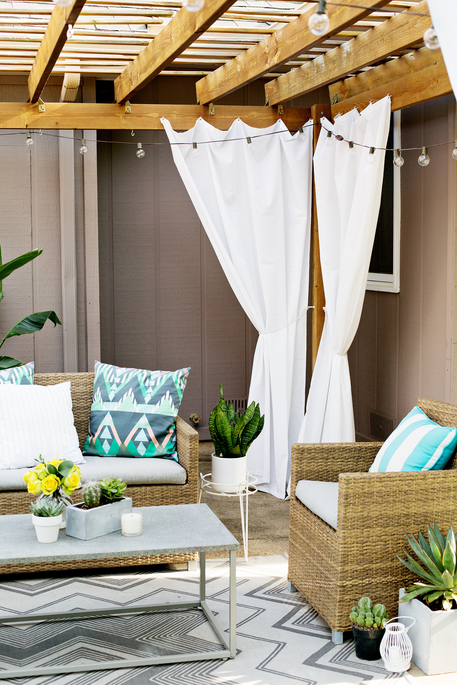 make your own outdoor pergola curtains a beautiful mess. Black Bedroom Furniture Sets. Home Design Ideas