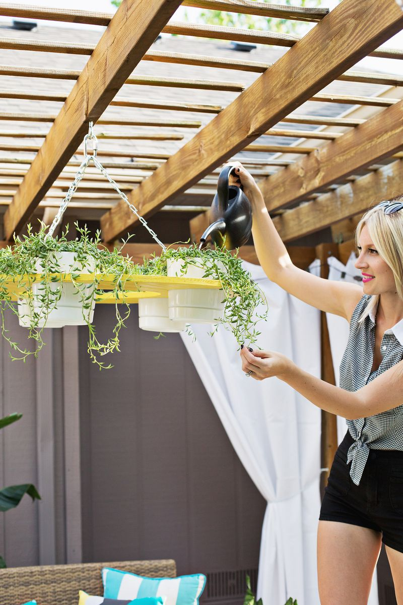 Make your own outdoor plant chandelier a beautiful mess for How to make your own chandelier