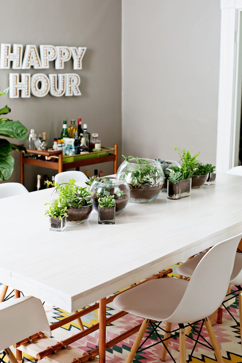 terrarium planter table runner a beautiful mess. Black Bedroom Furniture Sets. Home Design Ideas
