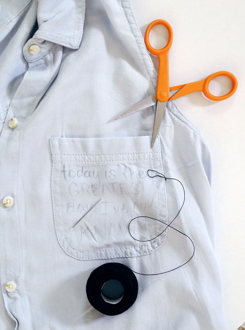 Diy pocket embroidery shirt a beautiful mess for How to embroider t shirts