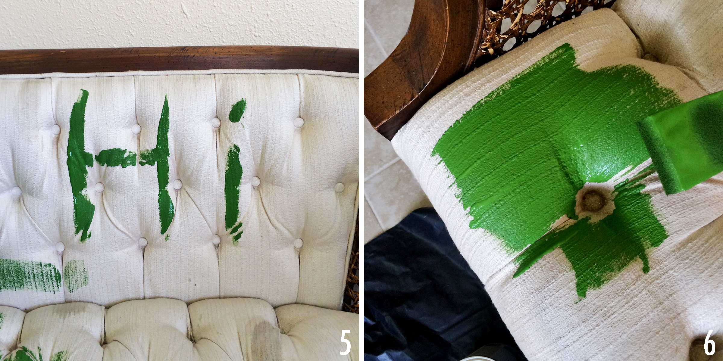 Attractive Spray Painting Upholstered Furniture #14: How To Paint Upholstery With Latex Paint And Fabric Medium