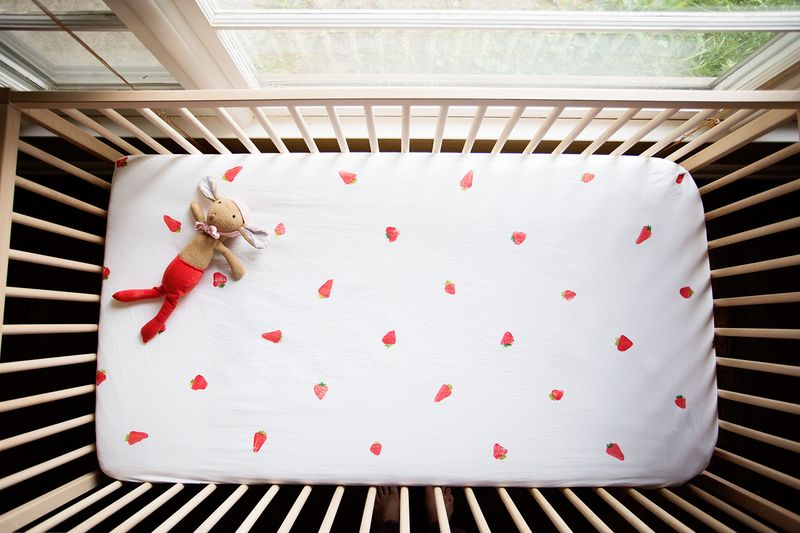 Hand-Stamped Strawberry Crib Sheet
