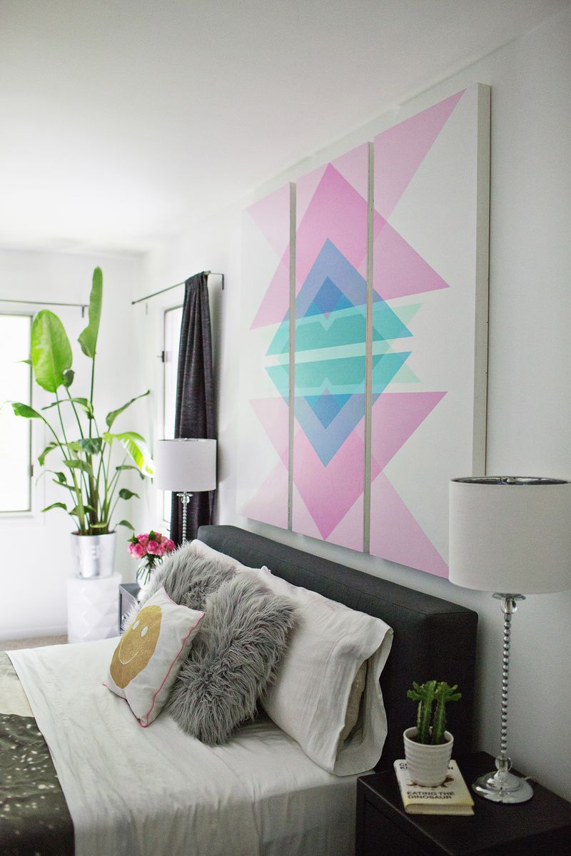 ... Geometric Art Headboard Panels (click through for tutorial) ...