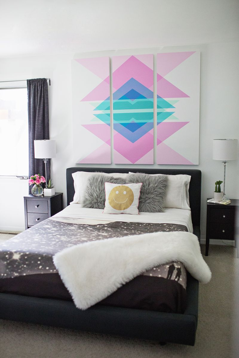 Geometric Art Headboard Panels Click Through For Tutorial
