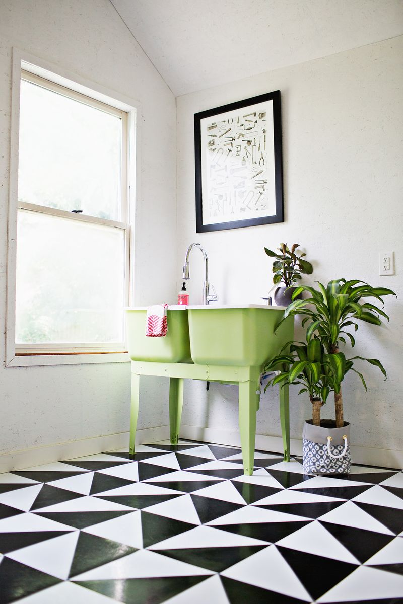 Make A Patterned Floor With Linoleum Tile - A Beautiful Mess