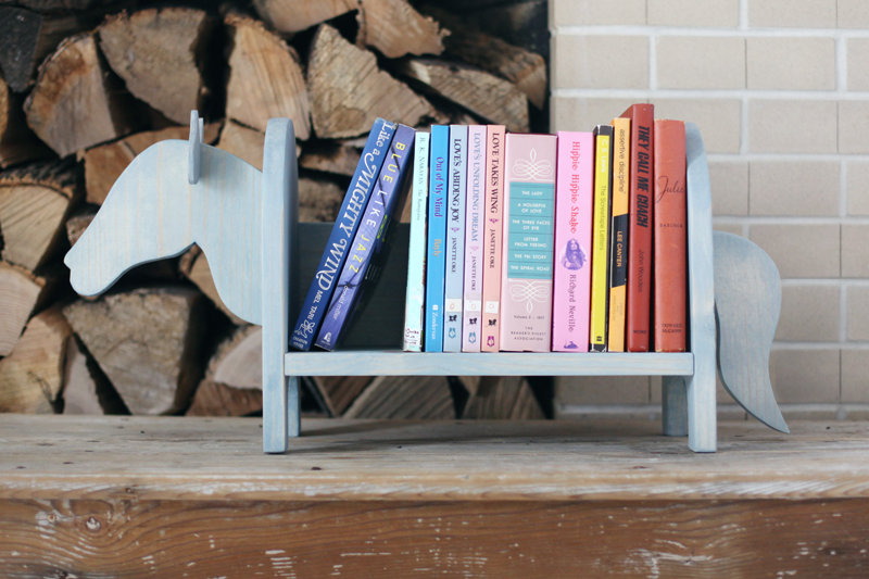 Build a Little Horse Bookshelf to add some whimsy to your decor!