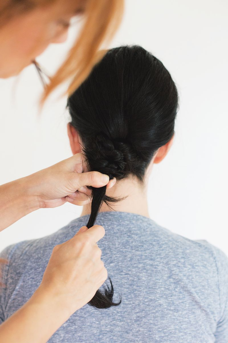 Step 3- push hair to nape of neck