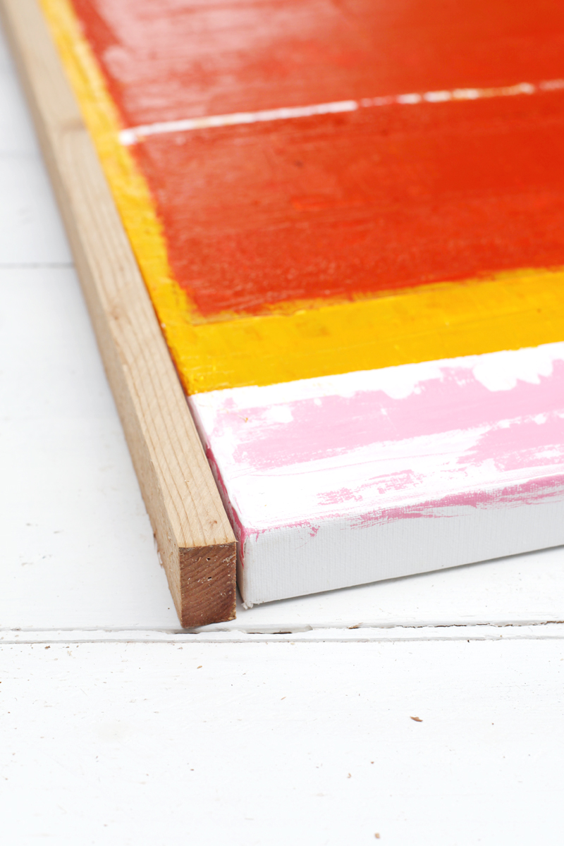 Diy custom framing no power tools required a beautiful mess for How to make canvas painting