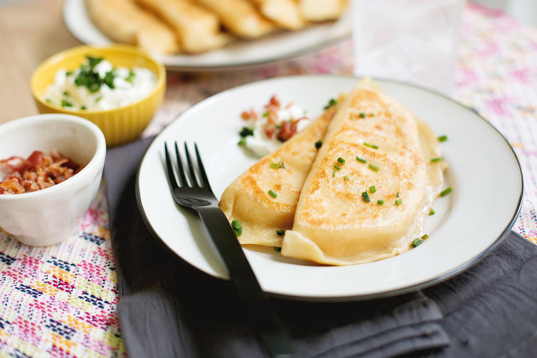 Bacon Cheddar Pierogies—so good! (click through for recipe)